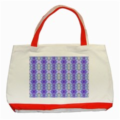 Light Blue Purple White Girly Pattern Classic Tote Bag (red) by Costasonlineshop