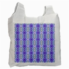 Light Blue Purple White Girly Pattern Recycle Bag (two Side)  by Costasonlineshop