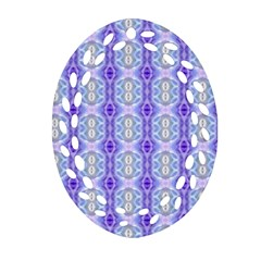 Light Blue Purple White Girly Pattern Ornament (oval Filigree)  by Costasonlineshop