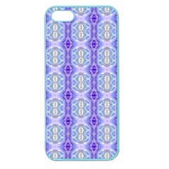 Light Blue Purple White Girly Pattern Apple Seamless Iphone 5 Case (color) by Costasonlineshop