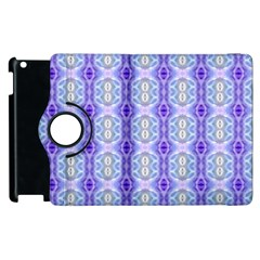 Light Blue Purple White Girly Pattern Apple Ipad 3/4 Flip 360 Case by Costasonlineshop