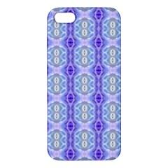 Light Blue Purple White Girly Pattern Apple Iphone 5 Premium Hardshell Case by Costasonlineshop