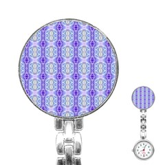 Light Blue Purple White Girly Pattern Stainless Steel Nurses Watches by Costasonlineshop