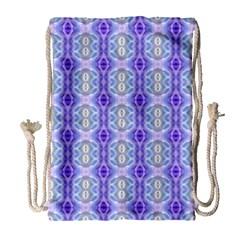 Light Blue Purple White Girly Pattern Drawstring Bag (large) by Costasonlineshop