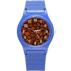 Skin1 Black Marble & Brown Burl Wood Round Plastic Sport Watch (s) by trendistuff