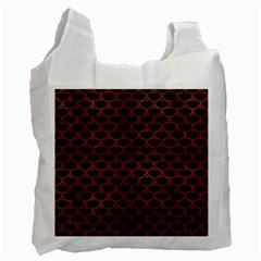 Scales3 Black Marble & Brown Burl Wood Recycle Bag (one Side) by trendistuff