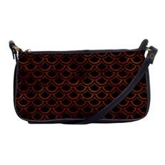 Scales2 Black Marble & Brown Burl Wood Shoulder Clutch Bag by trendistuff