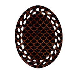 Scales1 Black Marble & Brown Burl Wood Ornament (oval Filigree) by trendistuff