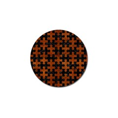Puzzle1 Black Marble & Brown Burl Wood Golf Ball Marker by trendistuff