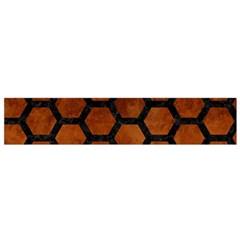Hexagon2 Black Marble & Brown Burl Wood (r) Flano Scarf (small) by trendistuff