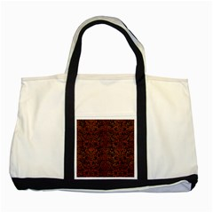 Damask2 Black Marble & Brown Burl Wood Two Tone Tote Bag by trendistuff