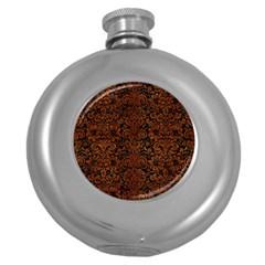 Damask2 Black Marble & Brown Burl Wood Hip Flask (5 Oz) by trendistuff