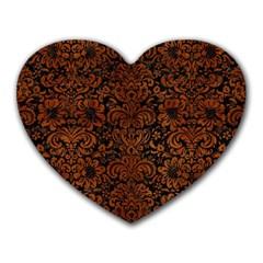 Damask2 Black Marble & Brown Burl Wood Heart Mousepad by trendistuff