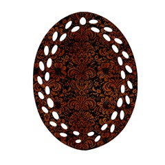 Damask2 Black Marble & Brown Burl Wood Oval Filigree Ornament (two Sides) by trendistuff