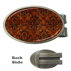 Damask1 Black Marble & Brown Burl Wood (r) Money Clip (oval) by trendistuff