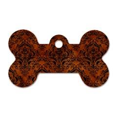 Damask1 Black Marble & Brown Burl Wood (r) Dog Tag Bone (two Sides) by trendistuff