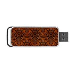 Damask1 Black Marble & Brown Burl Wood (r) Portable Usb Flash (two Sides) by trendistuff