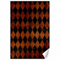 Diamond1 Black Marble & Brown Burl Wood Canvas 20  X 30  by trendistuff