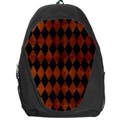 Diamond1 Black Marble & Brown Burl Wood Backpack Bag by trendistuff