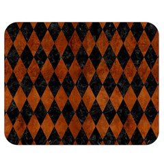 Diamond1 Black Marble & Brown Burl Wood Double Sided Flano Blanket (medium) by trendistuff