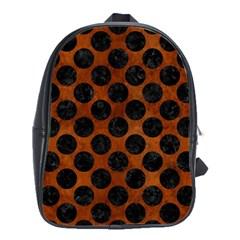 Circles2 Black Marble & Brown Burl Wood (r) School Bag (large) by trendistuff
