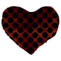 Circles2 Black Marble & Brown Burl Wood (r) Large 19  Premium Heart Shape Cushion by trendistuff