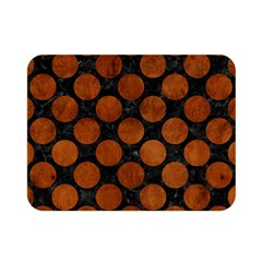 Circles2 Black Marble & Brown Burl Wood Double Sided Flano Blanket (mini) by trendistuff