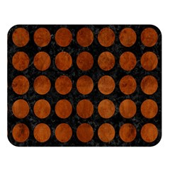 Circles1 Black Marble & Brown Burl Wood Double Sided Flano Blanket (large) by trendistuff