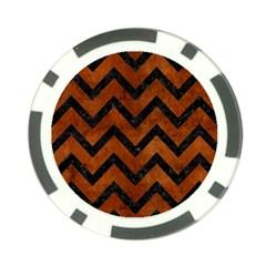 Chevron9 Black Marble & Brown Burl Wood (r) Poker Chip Card Guard (10 Pack) by trendistuff