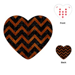 Chevron9 Black Marble & Brown Burl Wood Playing Cards (heart) by trendistuff
