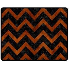 Chevron9 Black Marble & Brown Burl Wood Fleece Blanket (medium) by trendistuff
