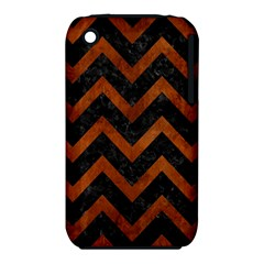 Chevron9 Black Marble & Brown Burl Wood Apple Iphone 3g/3gs Hardshell Case (pc+silicone) by trendistuff