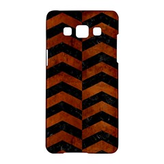 Chevron2 Black Marble & Brown Burl Wood Samsung Galaxy A5 Hardshell Case  by trendistuff