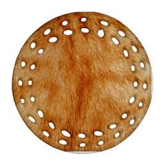 Orange Fur 2 Round Filigree Ornament (2side) by timelessartoncanvas