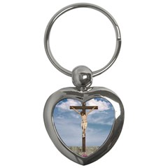 Jesus On The Cross Illustration Key Chains (heart)  by dflcprints