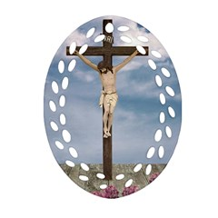 Jesus On The Cross Illustration Ornament (oval Filigree)  by dflcprints
