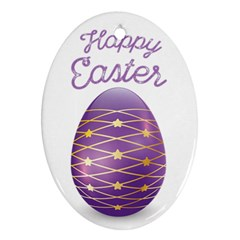 Happy Easter With Purple Easter Egg Oval Ornament (two Sides) by pippidust
