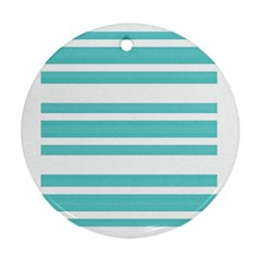 Teal Adn White Stripe Designs Ornament (round)  by timelessartoncanvas
