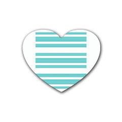 Teal Adn White Stripe Designs Rubber Coaster (heart)  by timelessartoncanvas