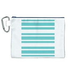 Teal Adn White Stripe Designs Canvas Cosmetic Bag (xl)  by timelessartoncanvas