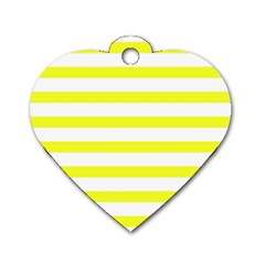 Bright Yellow And White Stripes Dog Tag Heart (one Side) by timelessartoncanvas