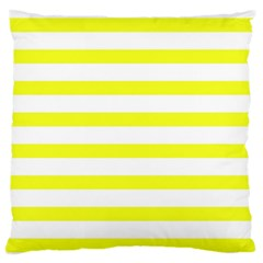 Bright Yellow And White Stripes Large Flano Cushion Cases (one Side)  by timelessartoncanvas
