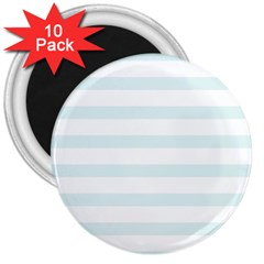 Baby Blue And White Stripes 3  Magnets (10 Pack)  by timelessartoncanvas