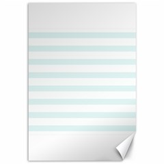 Baby Blue And White Stripes Canvas 12  X 18   by timelessartoncanvas