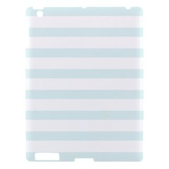 Baby Blue And White Stripes Apple Ipad 3/4 Hardshell Case by timelessartoncanvas