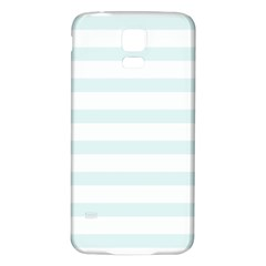 Baby Blue And White Stripes Samsung Galaxy S5 Back Case (white) by timelessartoncanvas
