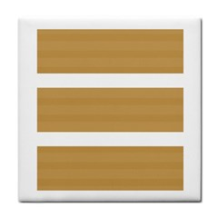 Beige/ Brown And White Stripes Design Tile Coasters by timelessartoncanvas