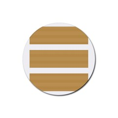 Beige/ Brown And White Stripes Design Rubber Coaster (round)  by timelessartoncanvas