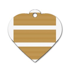 Beige/ Brown And White Stripes Design Dog Tag Heart (one Side) by timelessartoncanvas