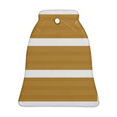 Beige/ Brown And White Stripes Design Ornament (bell)  by timelessartoncanvas